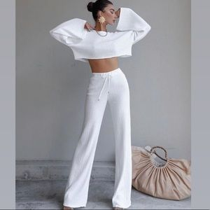 Sweaters - White Two Piece Lounge Set